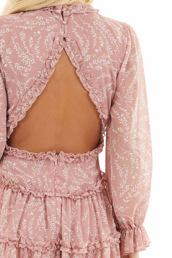 Dusty Blush Floral Dress with Tiered Skirt and Ruffle Detail detail