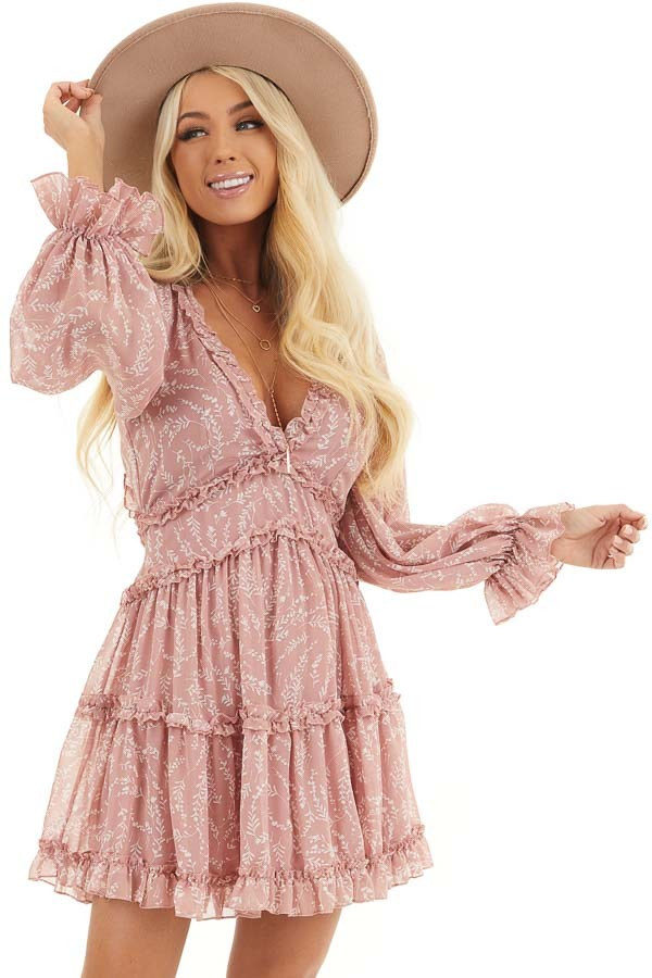 Dusty Blush Floral Dress with Tiered Skirt and Ruffle Detail front close up
