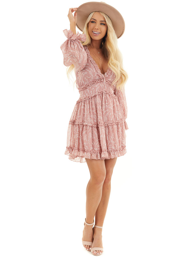 Dusty Blush Floral Dress with Tiered Skirt and Ruffle Detail front full body