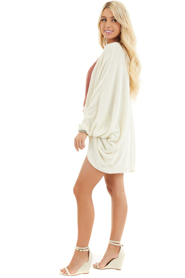 Cream Cocoon Cardigan with Long Dolman Sleeves side full body