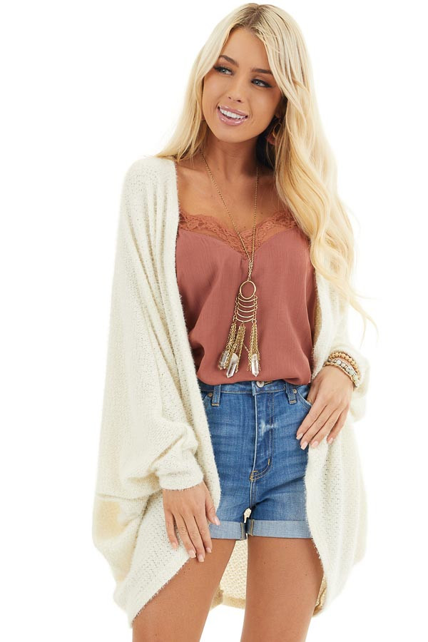 Cream Cocoon Cardigan with Long Dolman Sleeves front close up