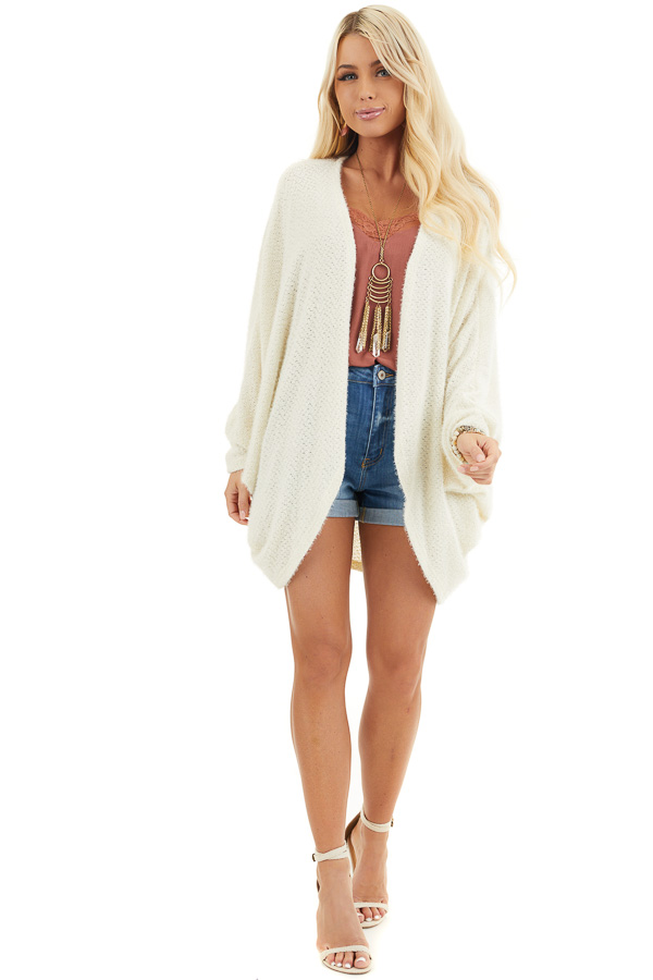Cream Cocoon Cardigan with Long Dolman Sleeves front full body