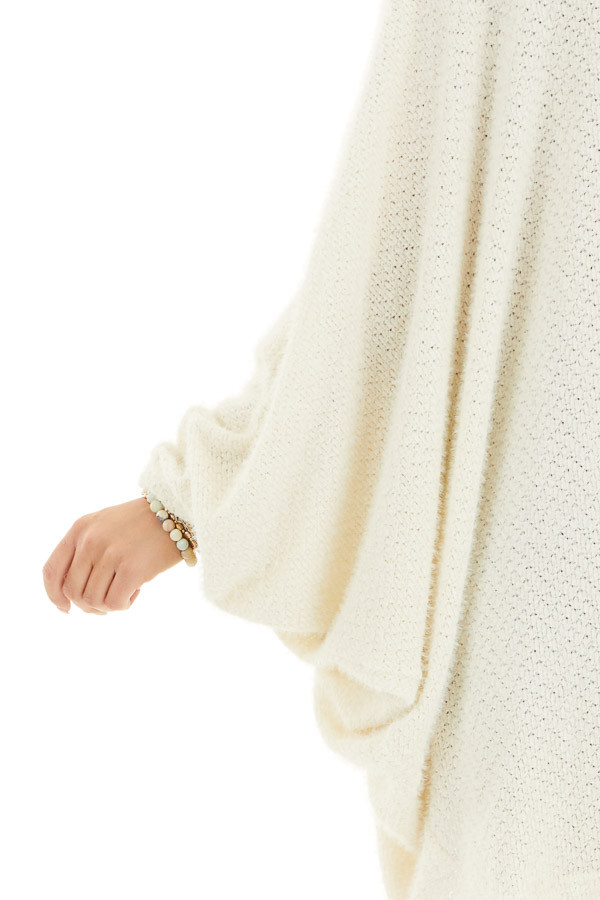Cream Cocoon Cardigan with Long Dolman Sleeves detail