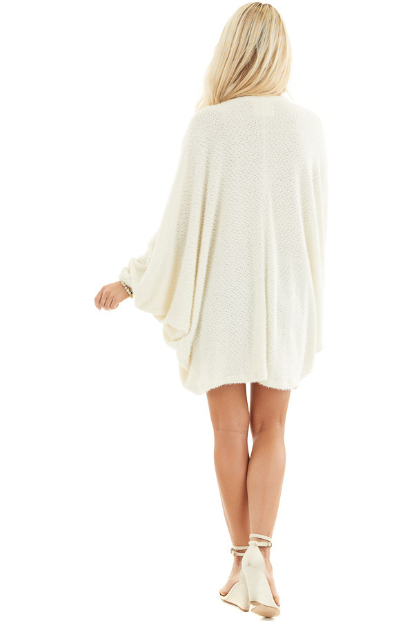 Cream Cocoon Cardigan with Long Dolman Sleeves back full body