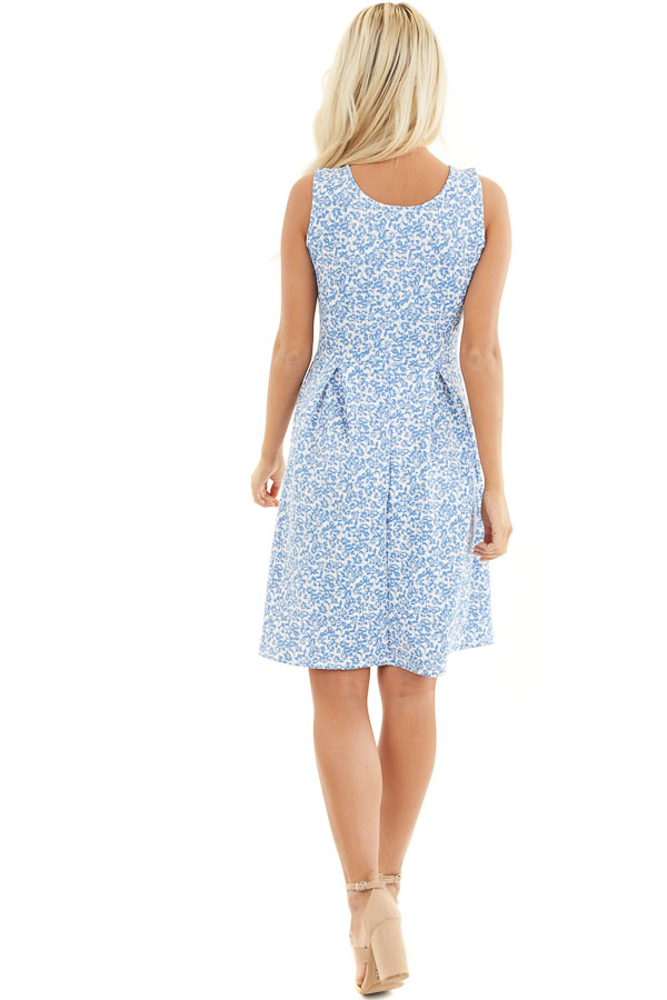Blue and Ivory Floral Sleeveless Dress with Pleated Skirt back full body