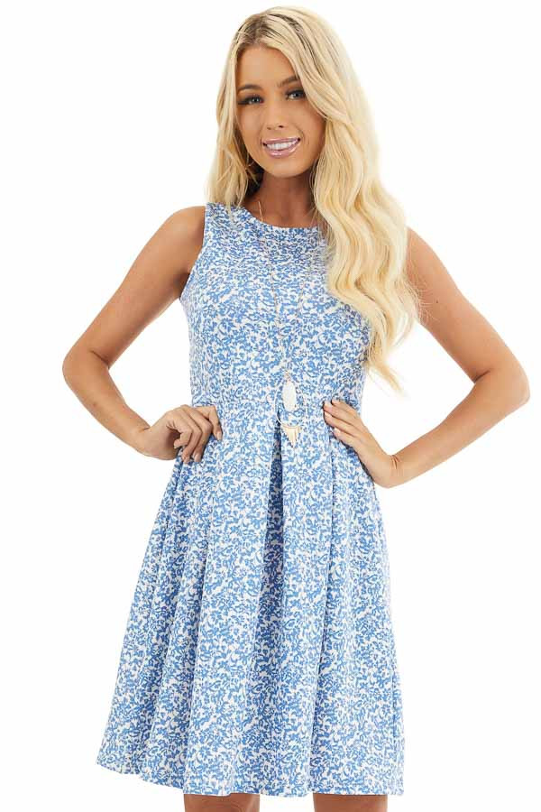 Blue and Ivory Floral Sleeveless Dress with Pleated Skirt front close up