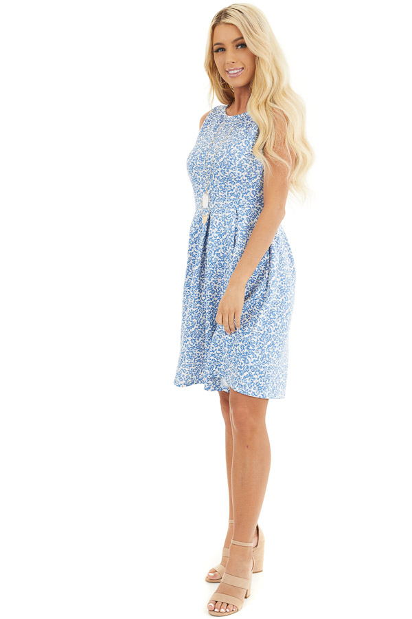 Blue and Ivory Floral Sleeveless Dress with Pleated Skirt front full body