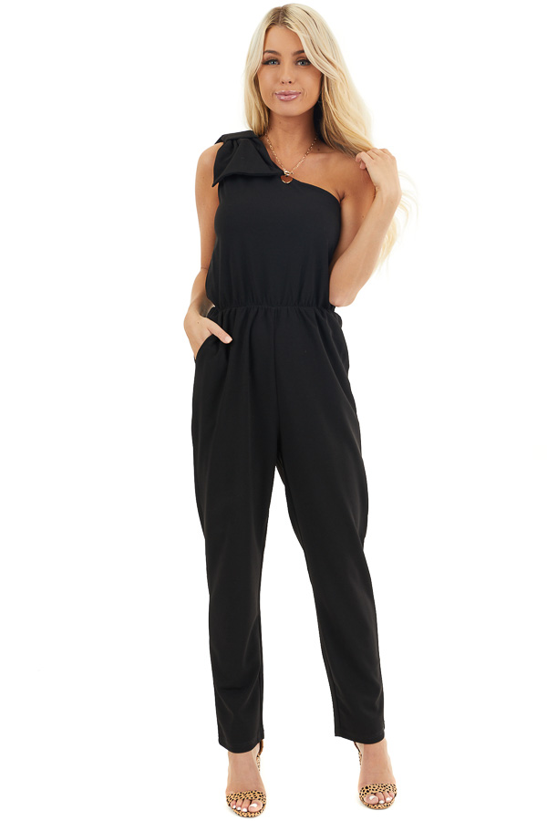Black One Shoulder Jumpsuit with Bow Detail and Pockets front full body