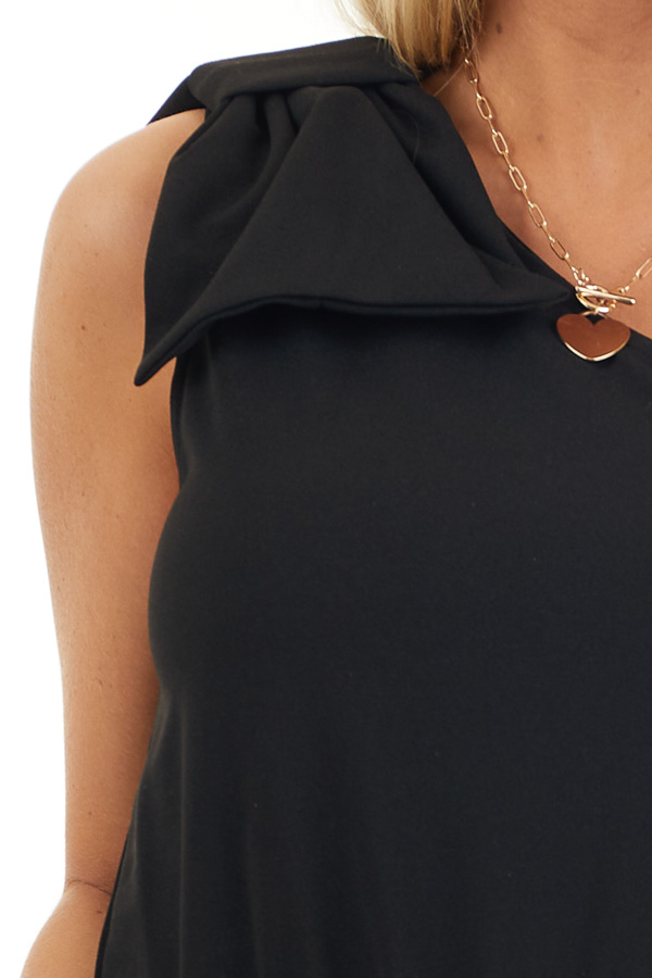Black One Shoulder Jumpsuit with Bow Detail and Pockets detail