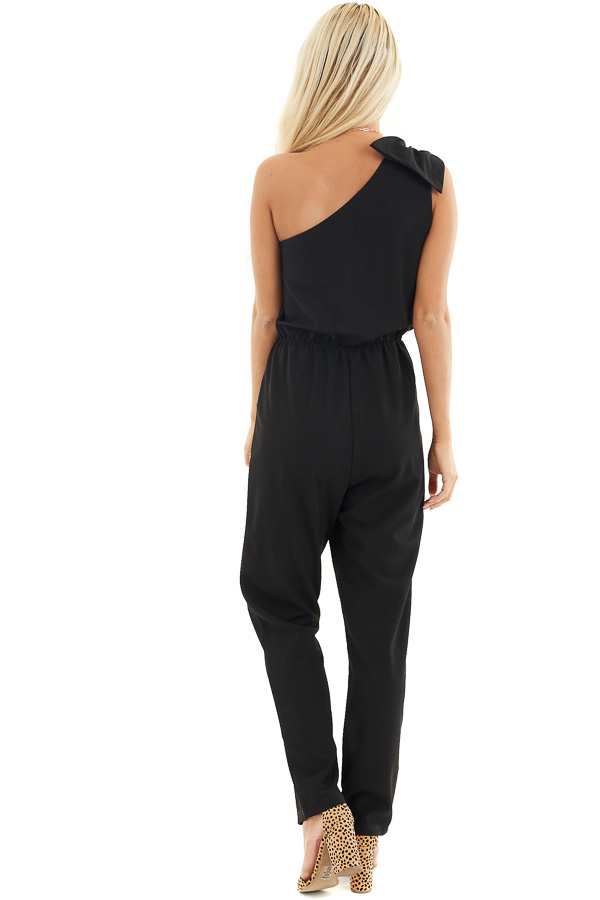 Black One Shoulder Jumpsuit with Bow Detail and Pockets back full body
