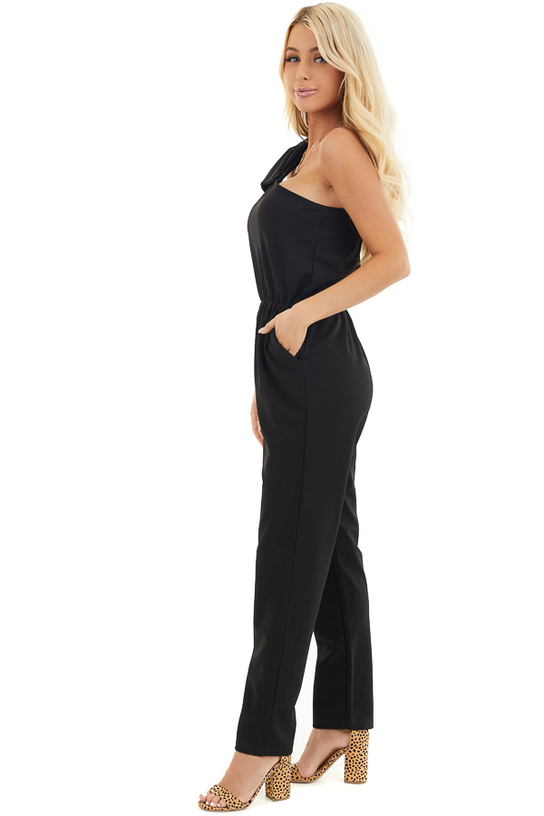 Black One Shoulder Jumpsuit with Bow Detail and Pockets side full body
