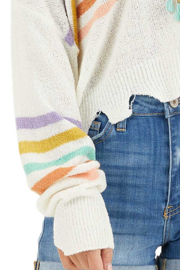 Ivory Multicolor Striped Lightweight Distressed Sweater detail