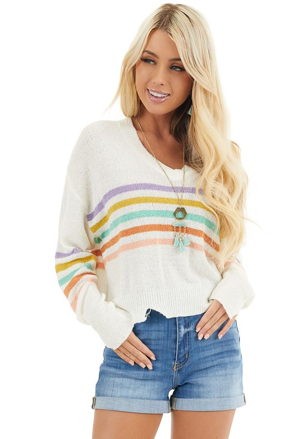 Ivory Multicolor Striped Lightweight Distressed Sweater front close up