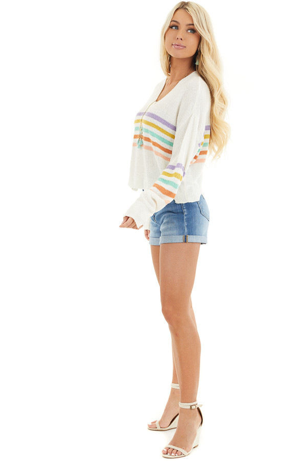 Ivory Multicolor Striped Lightweight Distressed Sweater side full body