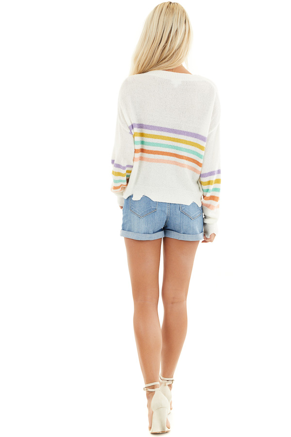 Ivory Multicolor Striped Lightweight Distressed Sweater back full body