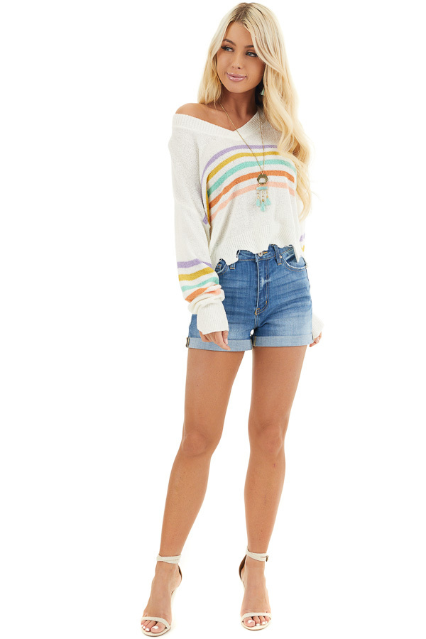Ivory Multicolor Striped Lightweight Distressed Sweater front full body