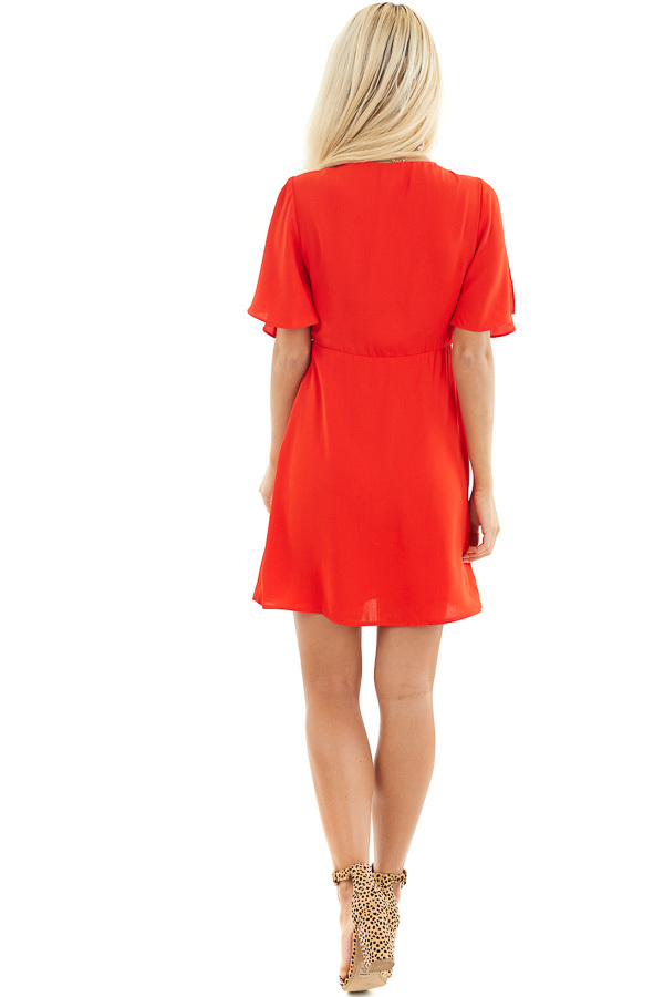 Lipstick Red V Neck Mini Dress with Faux Wrap Detail back full body