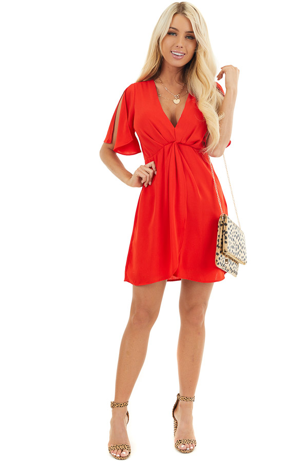 Lipstick Red V Neck Mini Dress with Faux Wrap Detail front full body