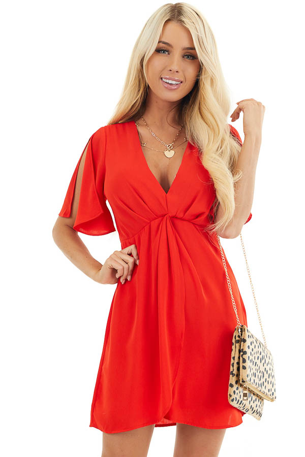 Lipstick Red V Neck Mini Dress with Faux Wrap Detail front close up
