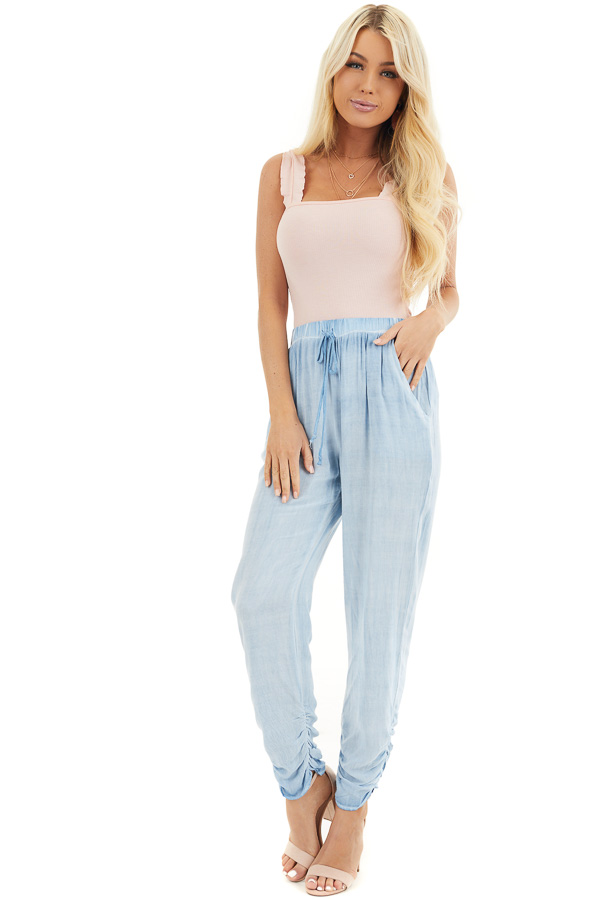 Baby Pink Ribbed Knit Tank Bodysuit with Ruffle Straps front full body