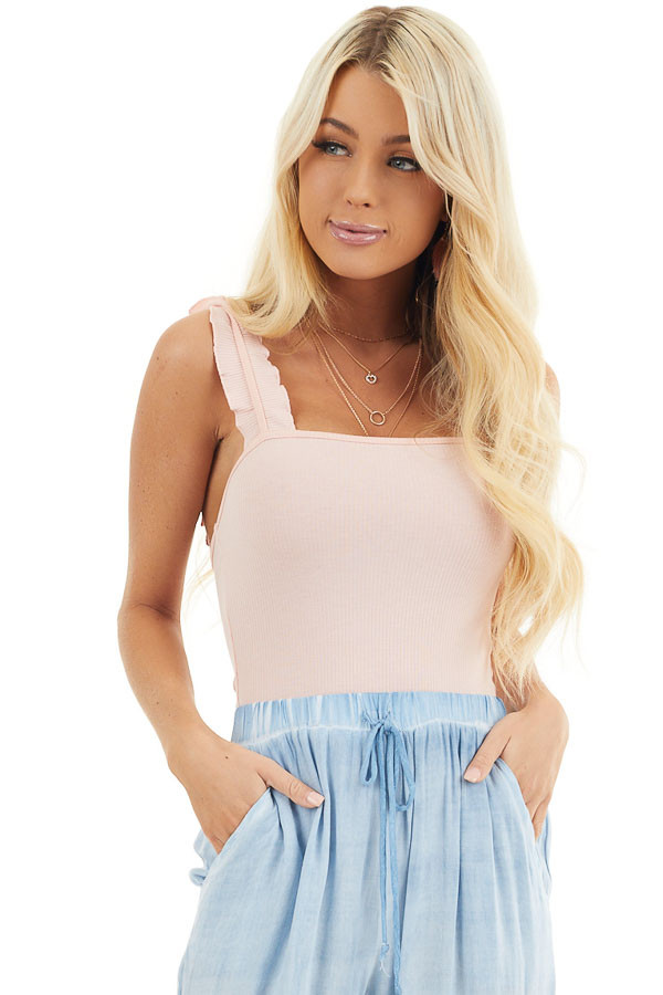 Baby Pink Ribbed Knit Tank Bodysuit with Ruffle Straps front close up