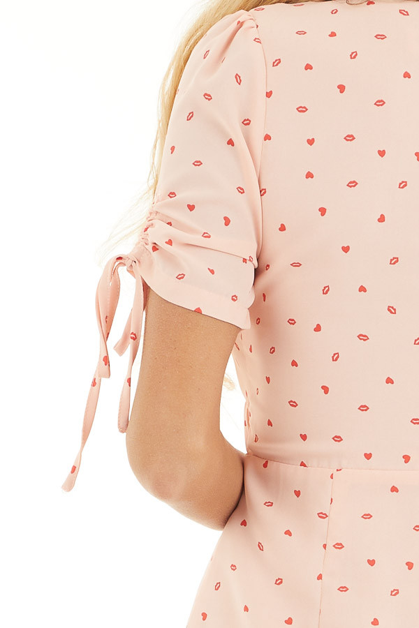Baby Pink Mini Dress with Red Heart and Kiss Print detail