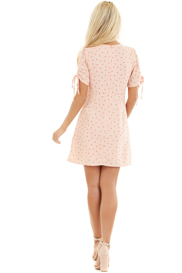 Baby Pink Mini Dress with Red Heart and Kiss Print back full body