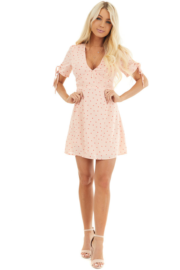 Baby Pink Mini Dress with Red Heart and Kiss Print front full body