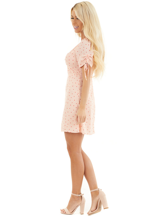 Baby Pink Mini Dress with Red Heart and Kiss Print side full body
