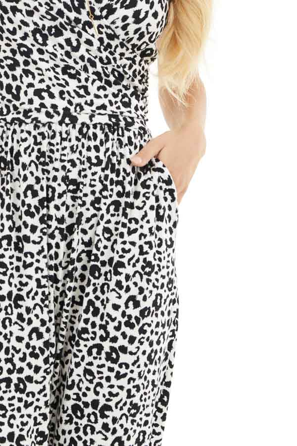White and Black Leopard Print Jumpsuit with Spaghetti Straps detail
