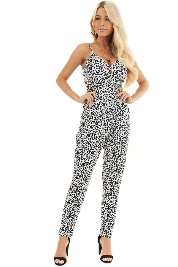White and Black Leopard Print Jumpsuit with Spaghetti Straps front full body