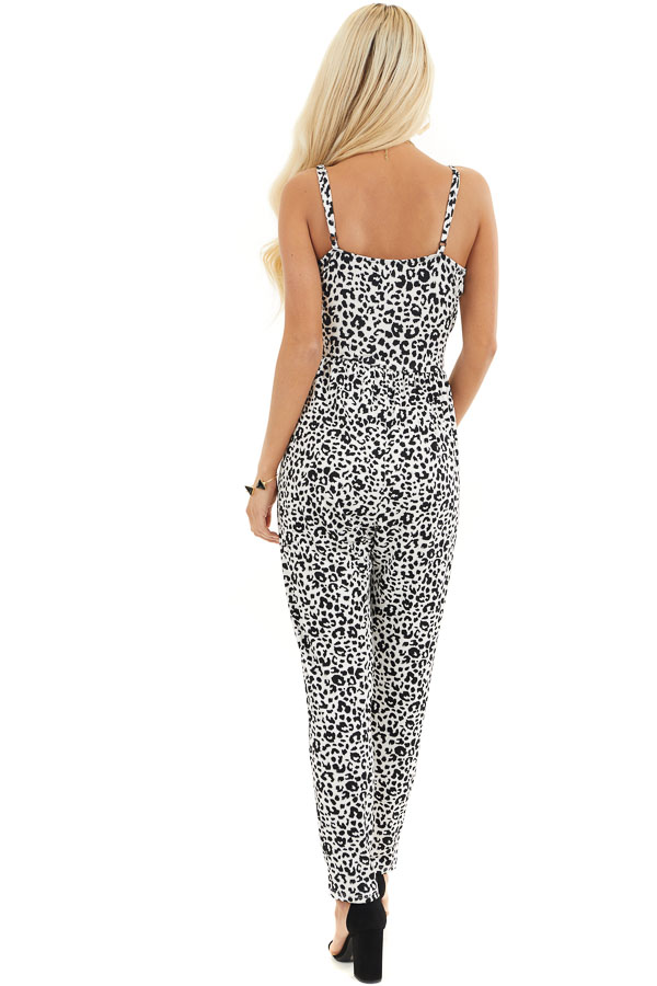 White and Black Leopard Print Jumpsuit with Spaghetti Straps back full body