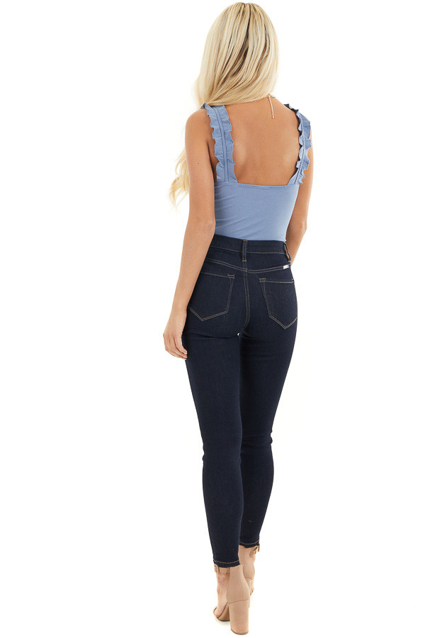 Dusty Blue Ribbed Knit Tank Bodysuit with Ruffle Straps back full body