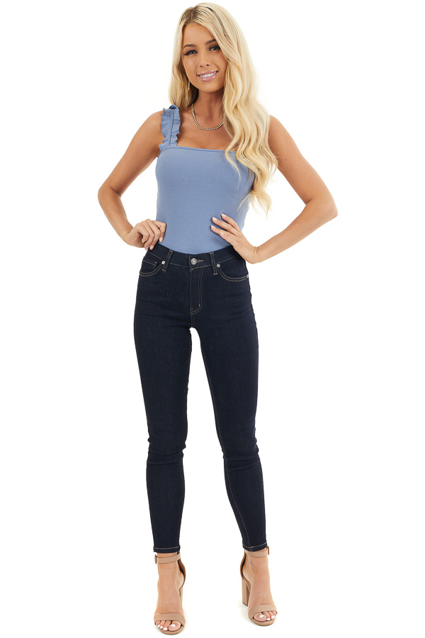 Dusty Blue Ribbed Knit Tank Bodysuit with Ruffle Straps front full body