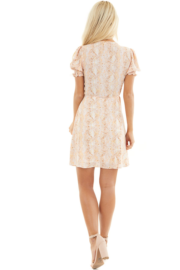 Peach and Ivory Snake Print Wrap Dress with Short Sleeves back full body