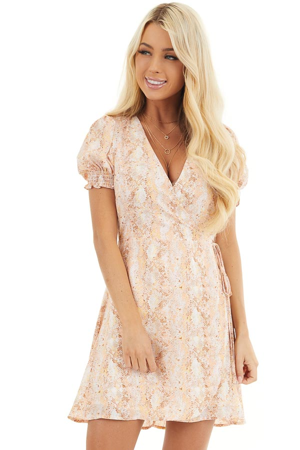 Peach and Ivory Snake Print Wrap Dress with Short Sleeves front close up