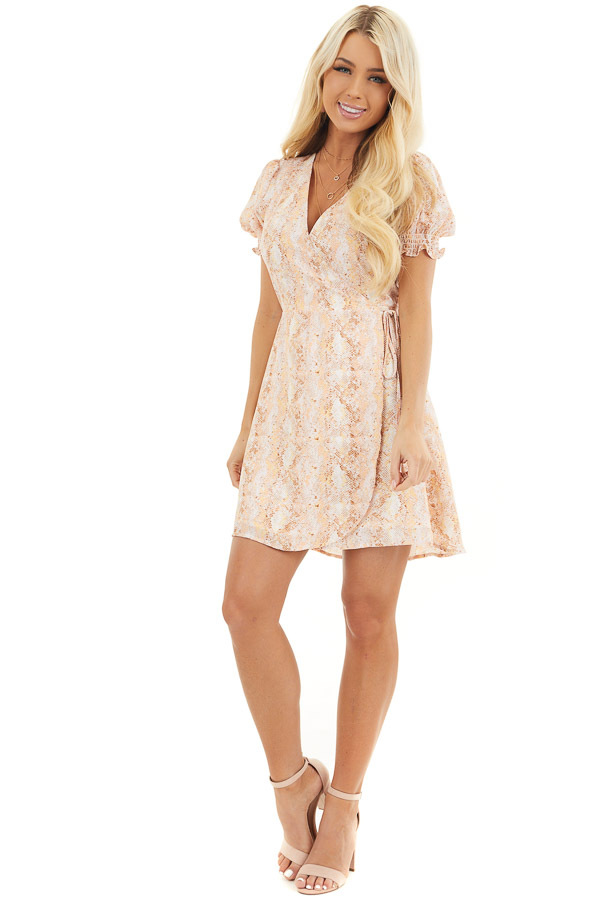 Peach and Ivory Snake Print Wrap Dress with Short Sleeves front full body