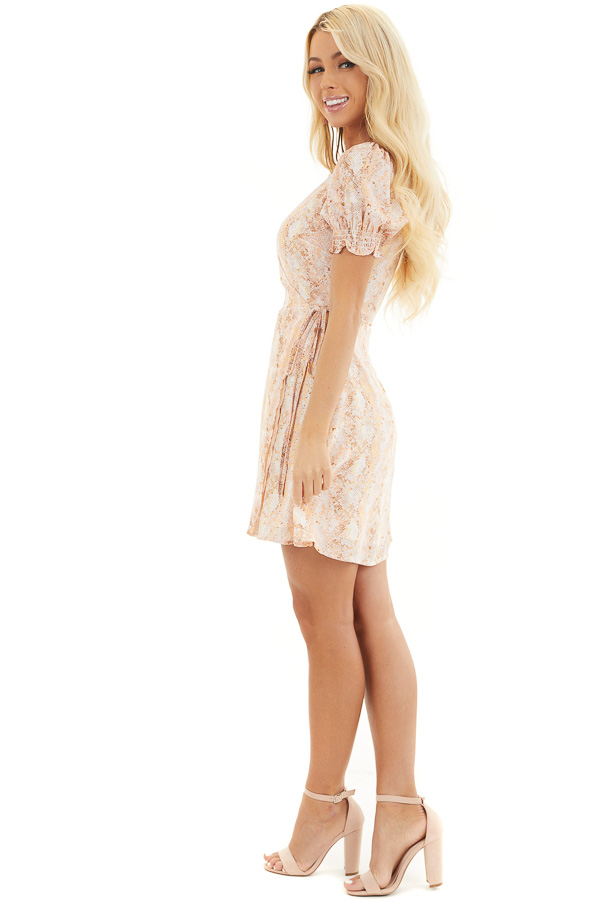 Peach and Ivory Snake Print Wrap Dress with Short Sleeves side full body