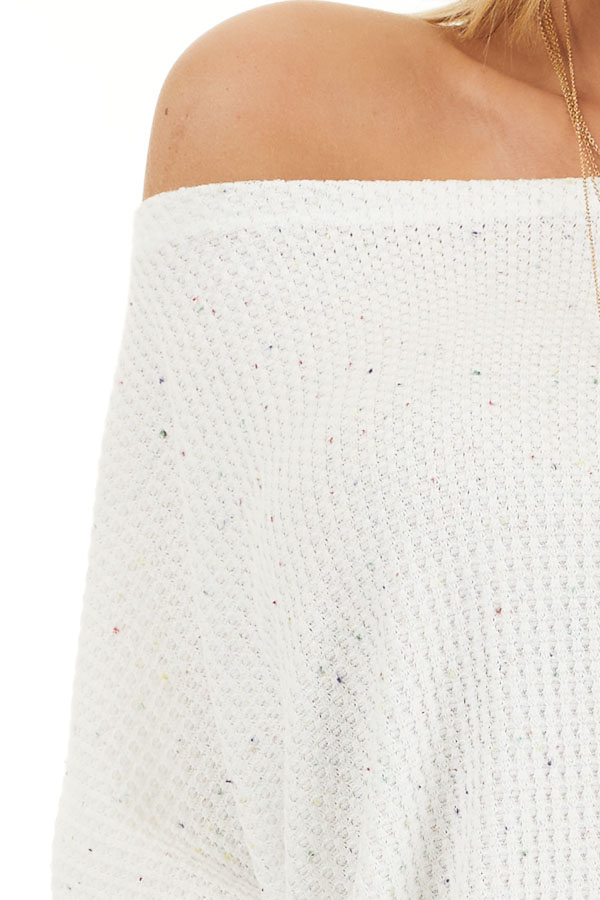 White Multicolor Speckled Waffle Knit Off the Shoulder Top detail