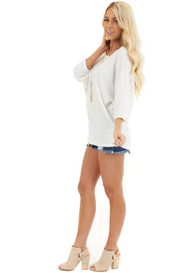 White Multicolor Speckled Waffle Knit Off the Shoulder Top side full body