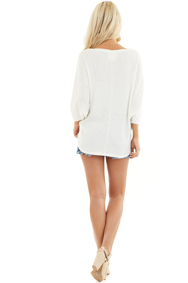 White Multicolor Speckled Waffle Knit Off the Shoulder Top back full body