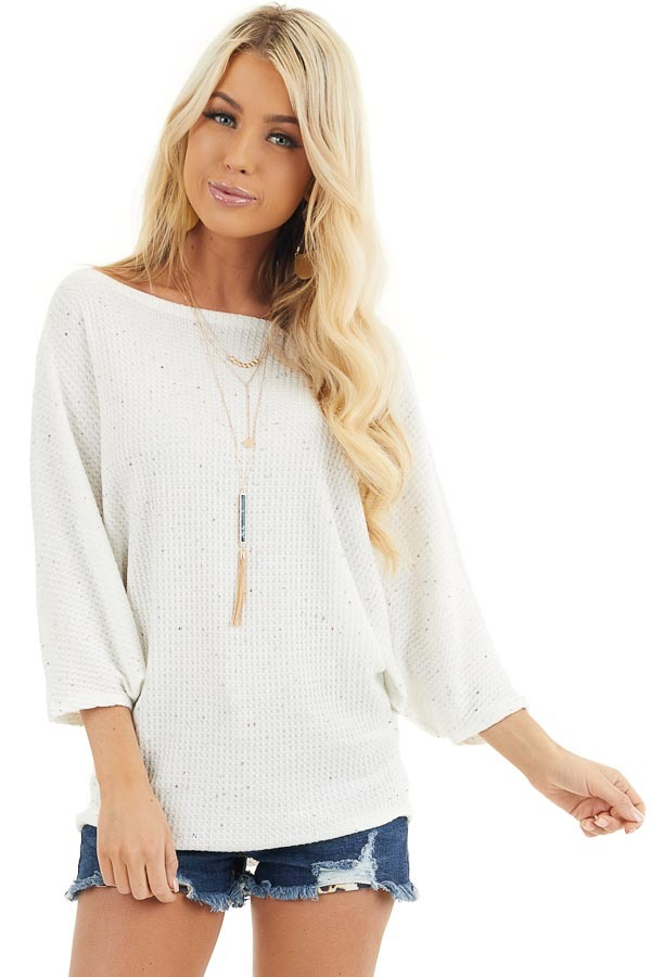 White Multicolor Speckled Waffle Knit Off the Shoulder Top front close up