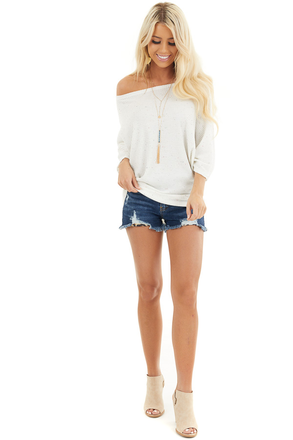 White Multicolor Speckled Waffle Knit Off the Shoulder Top front full body