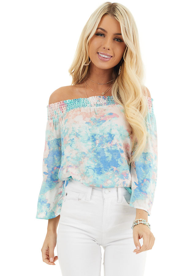 Multicolor Watercolor Print Smocked Off the Shoulder Top front close up