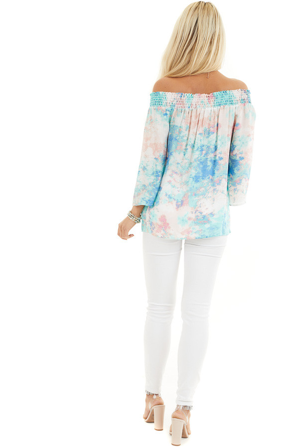 Multicolor Watercolor Print Smocked Off the Shoulder Top back full body