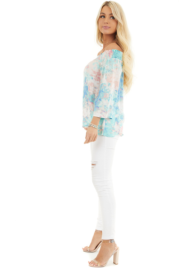 Multicolor Watercolor Print Smocked Off the Shoulder Top side full body