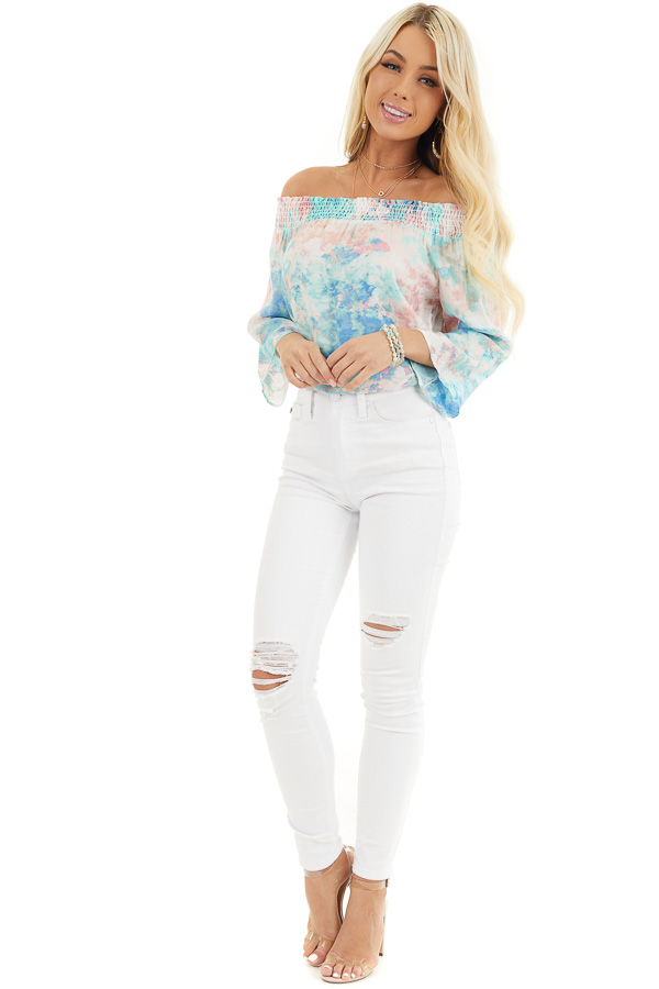 Multicolor Watercolor Print Smocked Off the Shoulder Top front full body