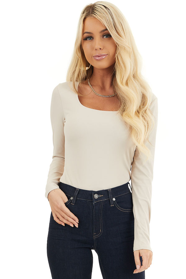 Beige Ribbed Long Sleeve Rounded Square Neck Bodysuit front close up