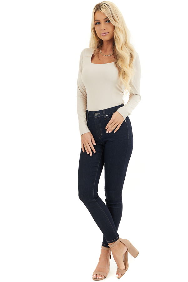 Beige Ribbed Long Sleeve Rounded Square Neck Bodysuit front full body
