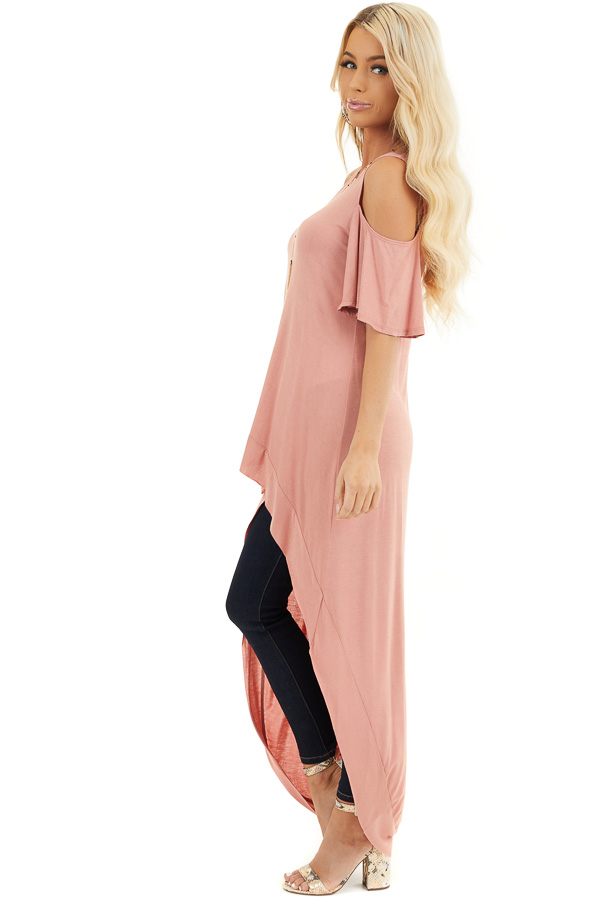 Salmon High Low Knit Tunic Top with Cold Shoulders side full body